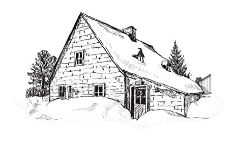 Pegatina de pared paisaje urbano Dibujo de casa de campo en ...