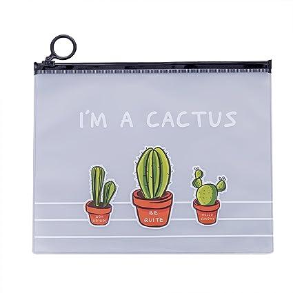 Mogist Cactus - Estuche de plástico PVC transparente para cosméticos con cremallera para mujeres o estudiantes 17.1 * 21.2cm Cactus* 3