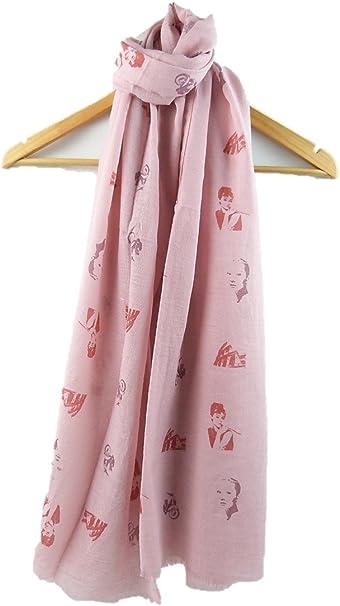 Women Audrey Hepburn Scarf Portrait Theme Big Size Soft Cotton Shawl Stole Wrap