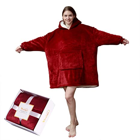 Burgundy Yunhigh-uk Ultra Plush Blanket Hoodie Oversized Thick Sweatshirt Warm Comfy Long Thick Giant Hooded Robe Pullover with Large Pocket for Adults Man Woman As Seen on TV