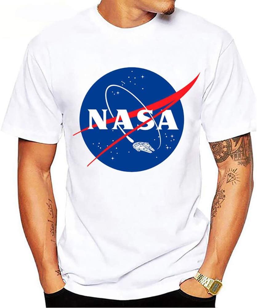 Slinlu NASA Clásico-Fit de Manga Corta Cuello Redondo de la Camiseta, Modern Fit Tri Mezcla la Camiseta de los Hombres de Manga Corta con Estilo Superior Ocasional Diario al Aire Libre Fecha: