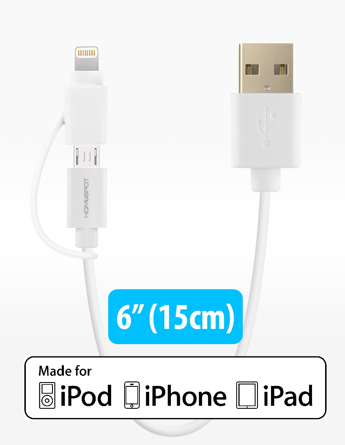 online retailer 1cbef c4bd1 MFi Certified HomeSpot iPhone Charger, 5 Inches Short 2-in-1 Lightning &  Micro USB Cord Apple 8 Pin for iPhone 7 6S 6 Plus 5S 5C 5, iPhone SE, iPad  4 ...
