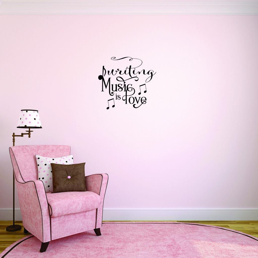 Peel /& Stick Wall Sticker Black Size 20 Inches x 30 Inches Writing Music is Love Bedroom Quote Kids Teen Boy Girl Quote Color Design with Vinyl Moti 2542 3 Decal