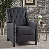 Cheap Ingrid Recliner Chair | Perfect for Living Room, Office | Nail Head Accent | Upholstered in Dark Charcoal Fabric