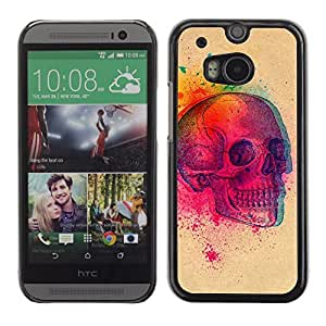 Colorful Printed Hard Protective Back Case Cover Shell Skin for HTC One M8 ( Color Explosion 3D Skull Birds Art )