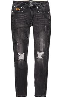 New Mens Superdry Slim Tyler Comfort Jeans Arden Used Black