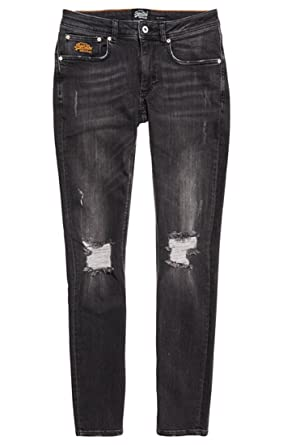 Superdry Skinnyjean, Jean Skinny Homme, (Palace Black Destroyed Ta2), 42 (Taille Fabricant: 33)