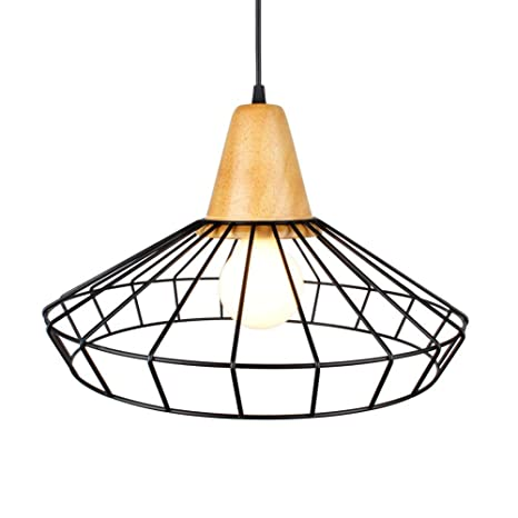Lámpara colgante, estilo retro Lámparas Lámparas de madera y Jaula ...