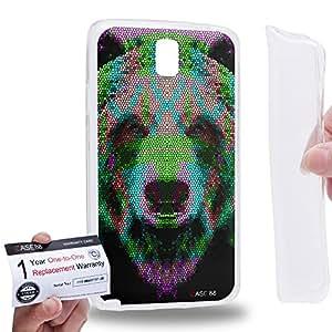Case88 [Samsung Galaxy Note 3 Neo N750 N7505] Gel TPU Phone case & Warranty Card - Art Aztec Design Bear Cyan and Green Animal Faces