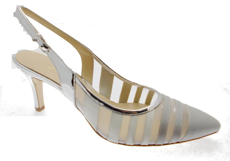 Femme Blanc Decolt De Réseau Gris Art E1566 Sandale Fermé Argent FwUxFgq