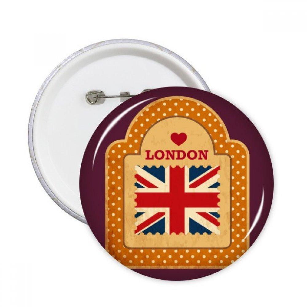 ポイントUKロンドンスタンプユニオンジャックラウンドピンバッジボタン衣類装飾5点ギフト L B07817ZZ19 L  L
