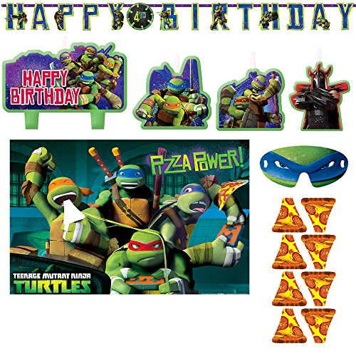 Teenage Mutant Ninja Turtles Jumbo Add - An - Age Letter Banner, 4 Piece Mini Molded Cake Candles, and Party Game - Includes One Maze Game Activity Card by -