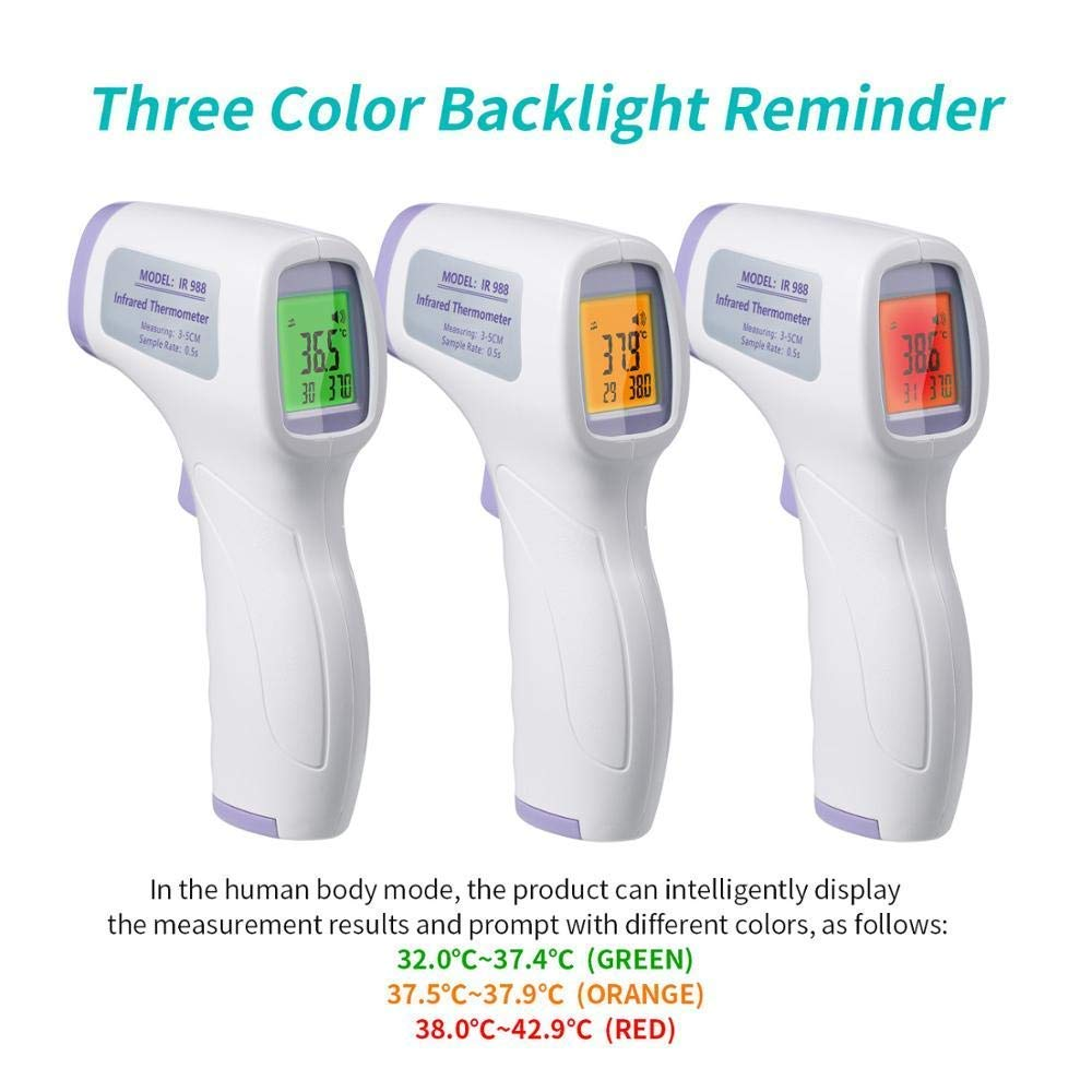 3X LCD Digital Infrared Thermometer Non-contact Temperature Ear Forehead Baby CE