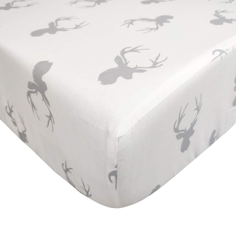 Brandream Kids Fitted Sheet Only Cotton White Grey Bed Sheet 1-Piece Deep Pockets (Queen, Reindeer)