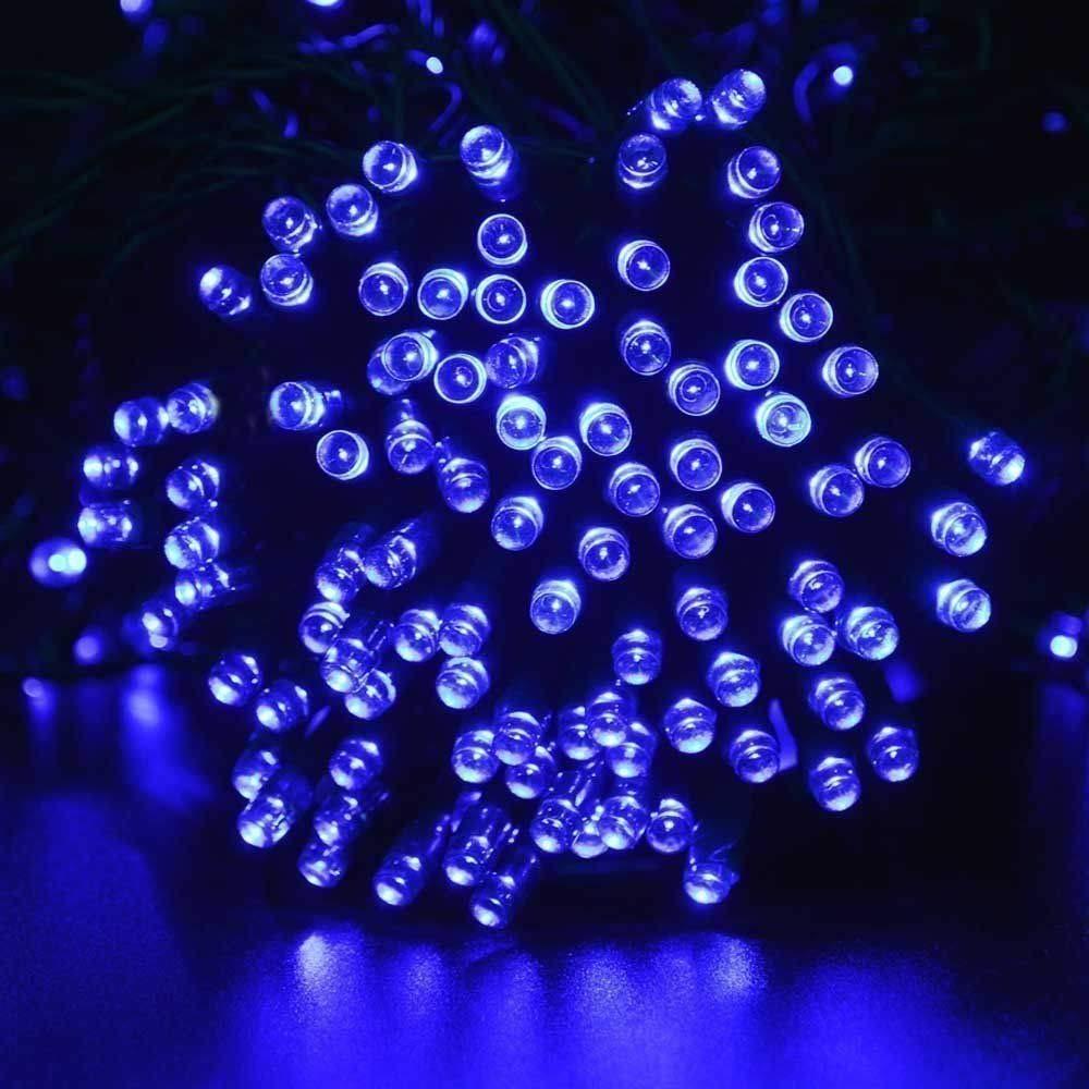 Lychee Solar powered string light 55ft 17m 100 LED Solar Fairy light string for Garden,Outdoor,Home,Christmas Party (17m 100Leds, Blue)
