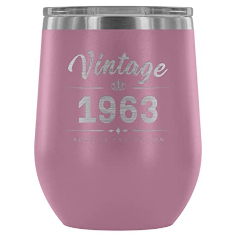 1963 55th Birthday Gifts For Women And Men 12 Oz Wine Tumbler Cup