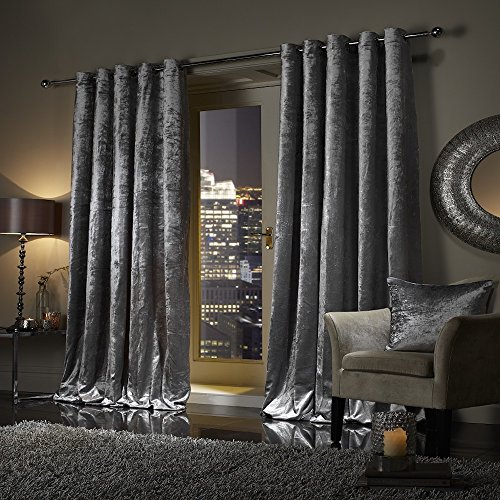 Viceroybedding Pair Of Crushed Velvet Curtains Faux Velour