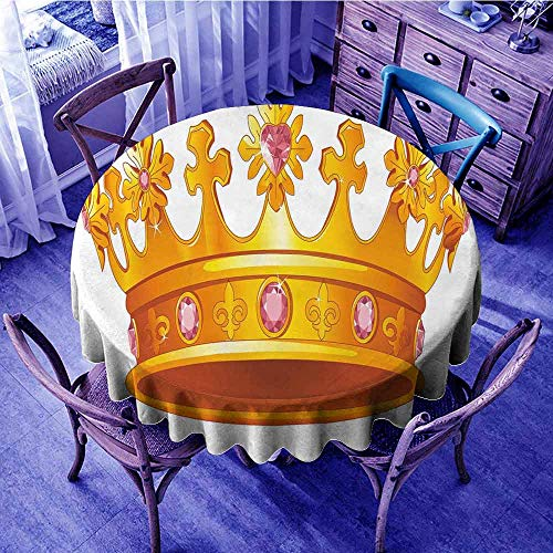 ScottDecor Queen Jacquard Tablecloth Golden Color Crown with Pink Gemstone Figures Antique Tiara Nobility Symbol Garden Round Tablecloth Yellow Light Pink Diameter 50