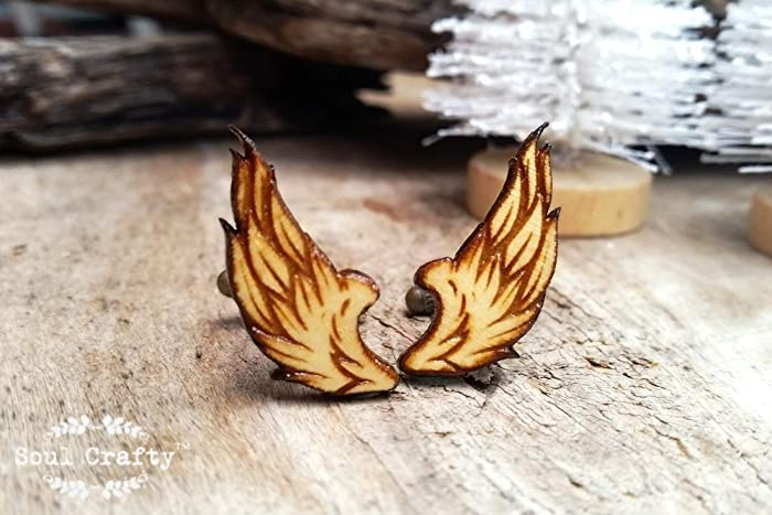 Amazon Feather Wings Wooden Cufflinks For Boy Friend Dad Grooms Best Man Groomsman Rustic Wedding Birthday Gift Cuff Links By Soul Crafty Handmade