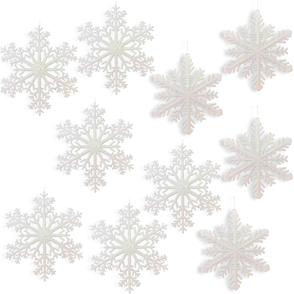 Large Snowflakes - Set of 10 White Glittered Snowflakes - Approximately 12'' diam - 2 Assorted Designs - Snowflake Window Decor - Winter Decorations