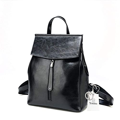 1455a6df9939 Yoome Multifunction Leather Backpack Ziper Bag for Ladies Shoulder Bag  Hangbag Purse Black