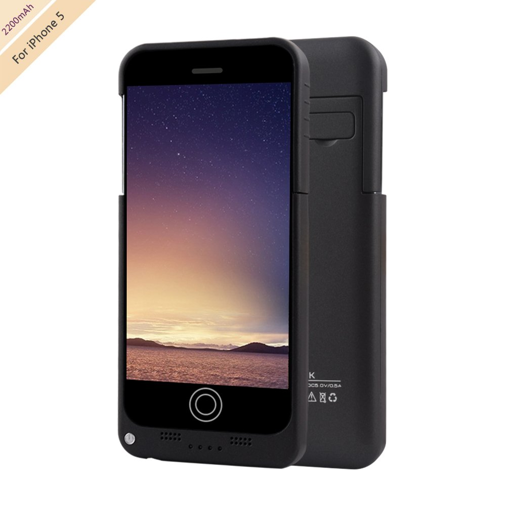 For iPhone 5 Charger Case, BSWHW 2200mAh Portable Battery Case with Pop-out Kickstand Extended Battery Pack Rechargeable Power Protection case Backup Juice Bank , Black