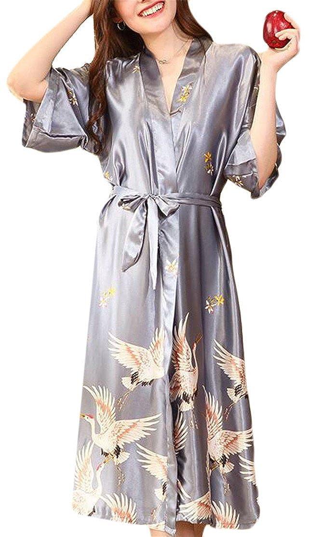 773d4547b2 WSPLYSPJY Women Sexy Satin Sleepwear Kimono Robes Bath Robe Sleep Gown 1  OneSize at Amazon Women s Clothing store