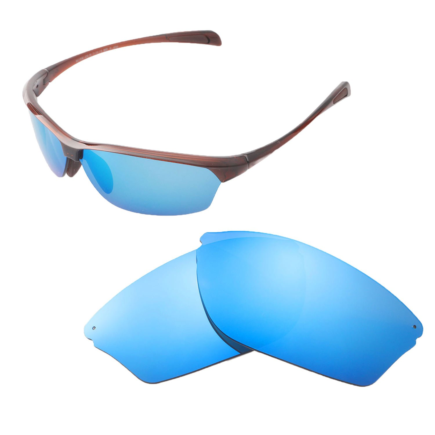 Walleva Replacement Lenses for Maui Jim Hot Sands Sunglasses - Multiple Options Available (Ice Blue - Polarized)