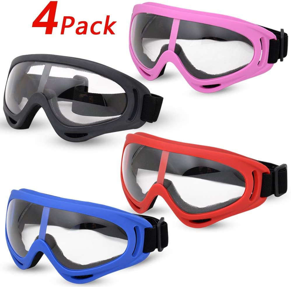 Valleycomfy 4 Pack Skiing Goggles, Adjustable Protective Motorcycle Goggles, Riding Safety Glasses, UV Protection Anti Fog Snow Goggles for Men Women Youth Kids
