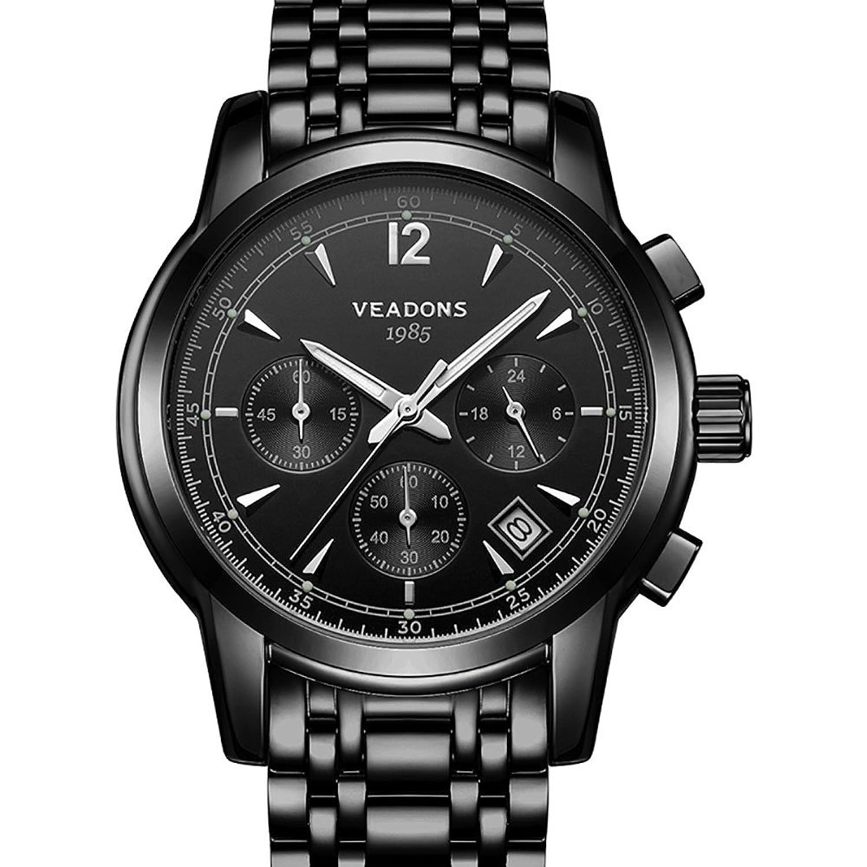 veadons Herren Luminous Speedway Edelstahl Chronograph mit Link Armband (schwarz schwarz)