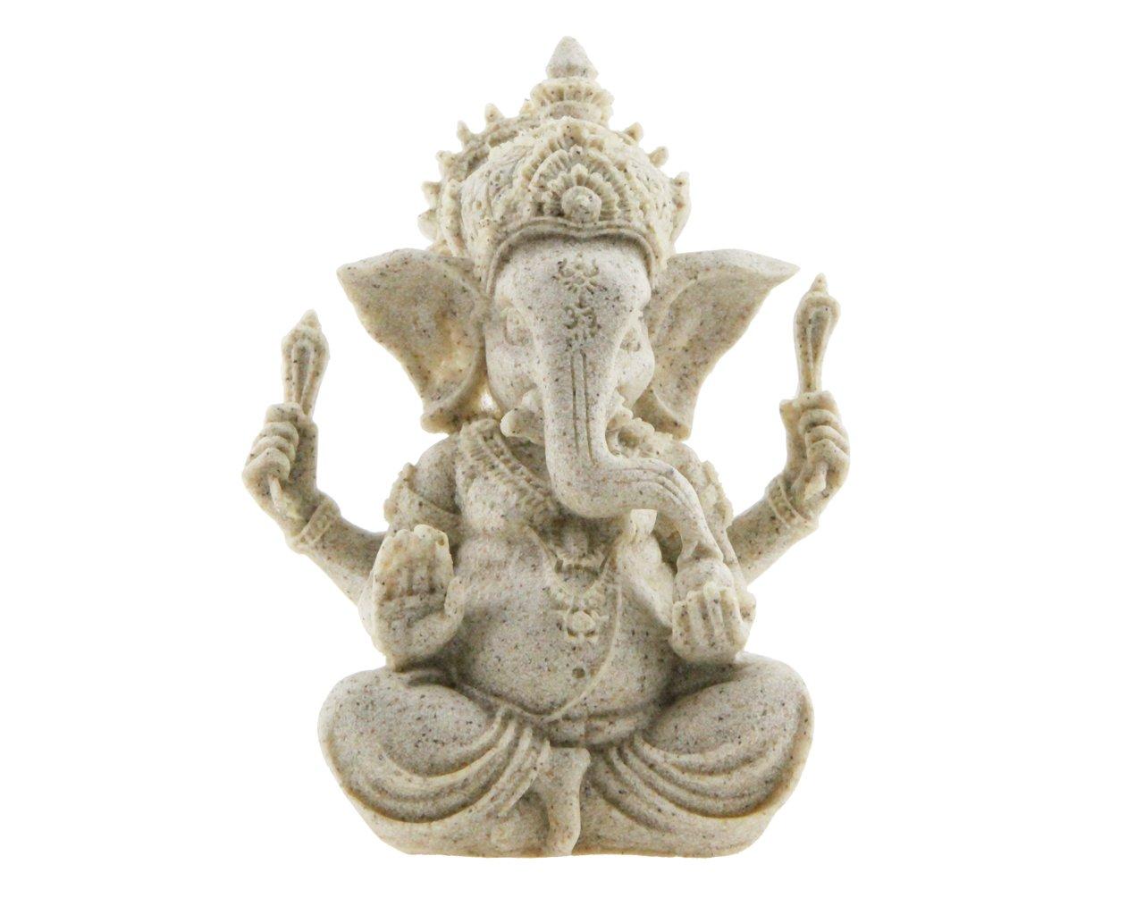 Winterworm Handmade Ganesha Elephant God Statue Sandstone Sculpture Buddha Figurine Decoration
