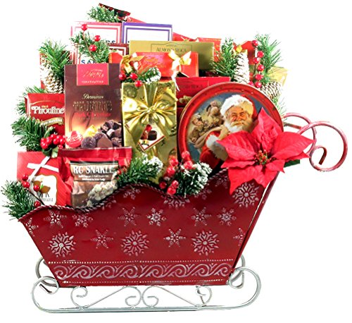Gift Basket Village - A Christmas to Remember. Large Christmas Gift Basket in Embossed and Painted Metal Sleigh, 2 Feet Tall