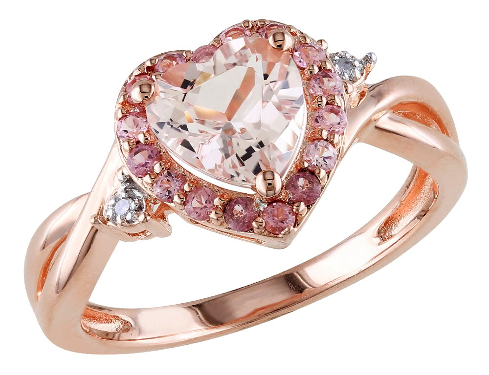 Morganite Heart Ring with Pink Tourmaline and Diamond in Rose Sterling Silver by Gem And Harmony (Image #1)