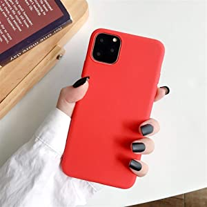 XINHUANG Solid Color Silicone Couples Cases for iPhone XR X XS Max 6 6S 7 8 Plus 11 11Pro Max Cute Candy Color Soft Simple Fashion Phone Case Red, Size : IPhone11pro
