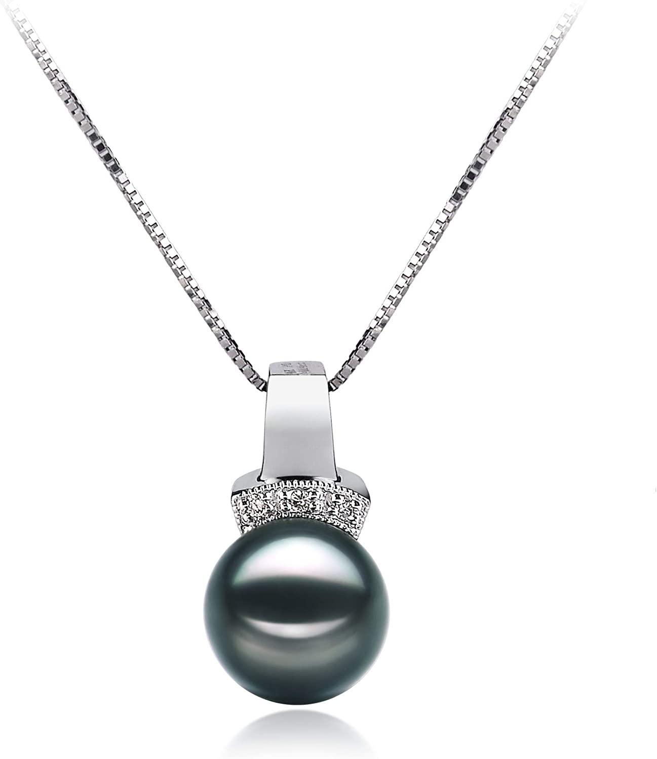 """8-9mm Tahitian Black Natural Pearl Necklace 18/"""" AA Charming"""