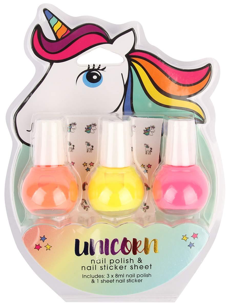 GFA 3-Pack Nail Polish Kit With Unicorn Stickers, Bright 3
