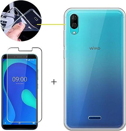 LJSM Coque pour Wiko Y80 Verre trempé écran Film Protecteur - Transparent Souple Silicone Étui Protection Housse TPU Case Cover pour Wiko Y80 ...