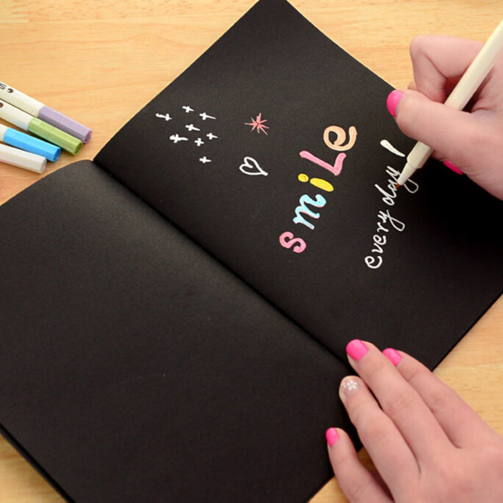 Doodle Art Papers Cards Pad Sketchbook Graffiti Book Diary Sketch Drawing Black Notebook Stationary Gift Blank Drawing Book for Kids and Adults size S by Baost (Image #4)