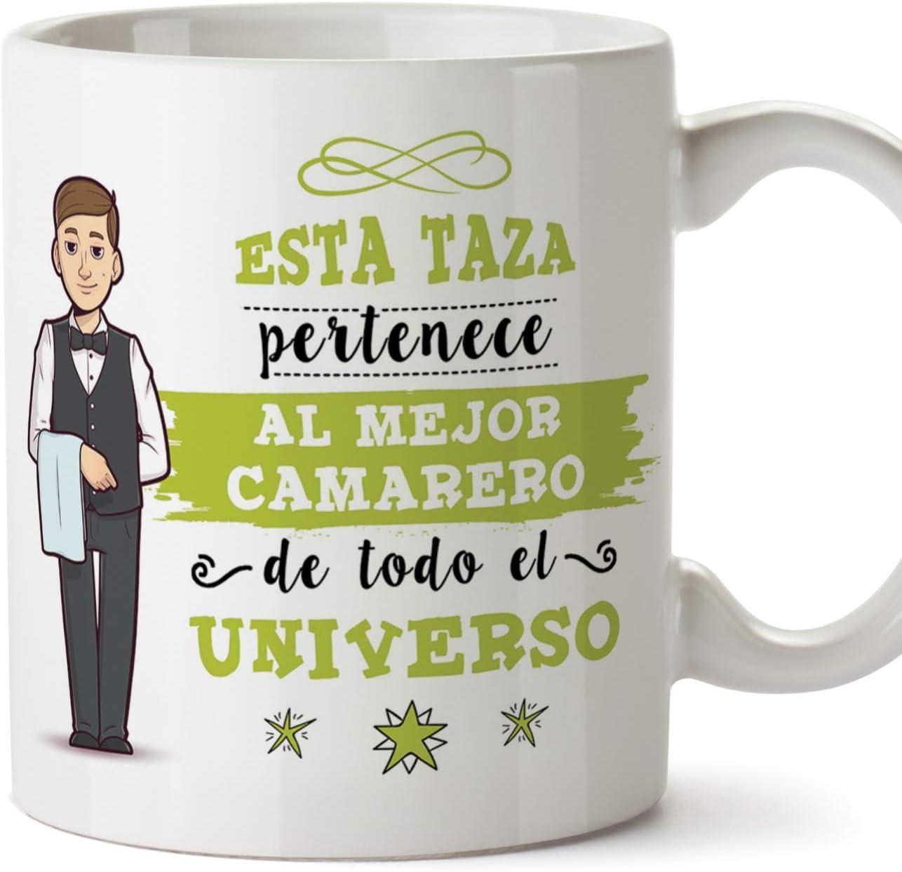 MUGFFINS Camarero Tazas Originales de café y Desayuno para Regalar a Trabajadores Profesionales - Esta Taza Pertenece al Mejor Camarero del Universo - Cerámica 350 ml