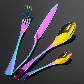LEKOCH de 4 Piece de acero inoxidable Cuberterías incluyendo incluyen tenedores, cubiertos de cuchillos, cucharas para 1 (Arco iris): Amazon.es: Hogar