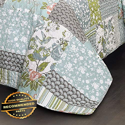 (Werrox 3pc ROESSER Quilt Set King or Queen Patchwork Floral Farmhouse Blue Reversible Size | Quilt Style QLTR-291268136)