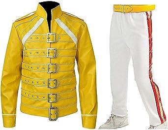 TALLA M. Fashion_First Disfraz de Freddie Mercury para hombre, de piel