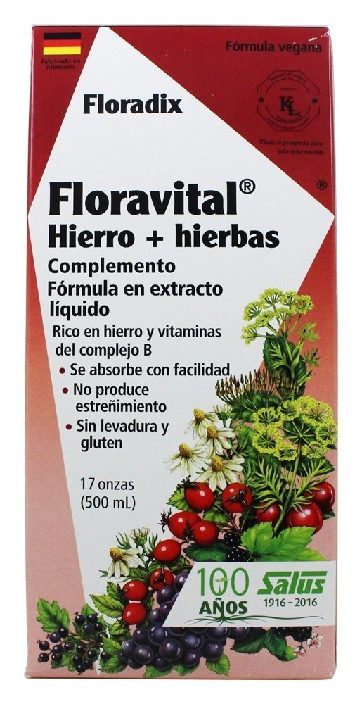 Amazon.com: Floravital Iron & Herbs Yeast Free Flora Inc 17 oz Liquid by Salus-Haus (2 Pack): Health & Personal Care