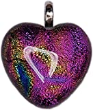 Dichroic Glass Pink Heart Pendant + FREE CHAIN + FREE GIFT BAG