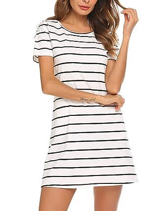 20aa8e39c3cc Poetsky Womens Short Sleeve Striped Pockets Criss Cross Back T-Shirt Tunic Mini  Dress (