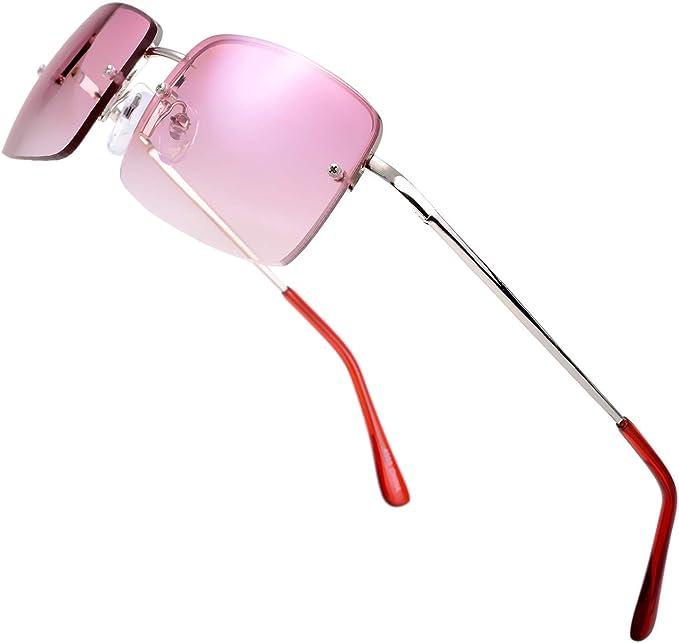 The Fresh Minimalist Small Rectangular Sunglasses Clear Eyewear Spring Hinge - Gift Box Package