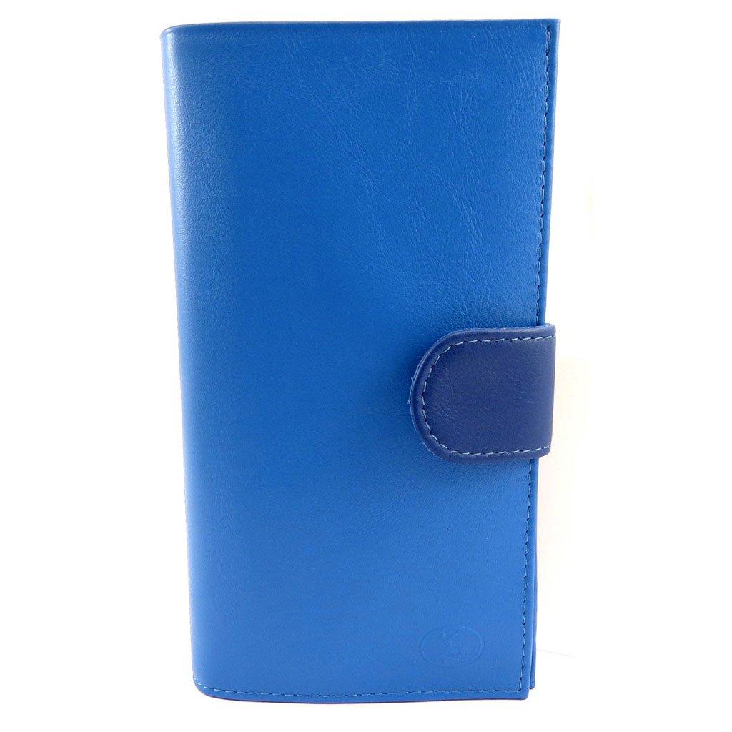 Leather checkbook holder 'Frandi' 2 blue tones.