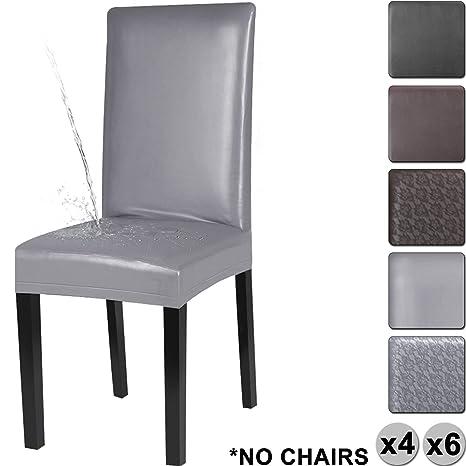 YISUN Cubiertas para sillas de Comedor, Cubierta Protectora Lavable removible de la PU del Estiramiento del Cuero de la PU