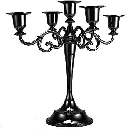 Dyna Living Metal Candle Holder 5 Arms Candle Stand Vintage Candlesticks Candlestick Holder Classic For Table Black Amazon Co Uk Kitchen Home