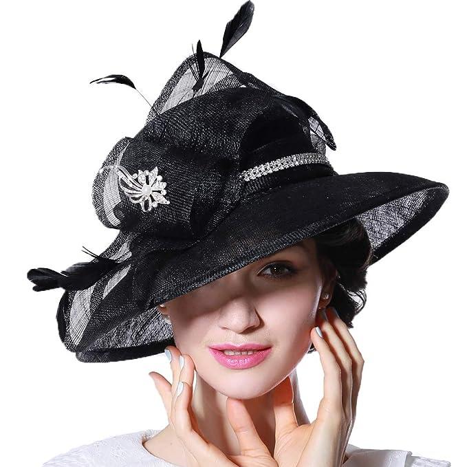 June s Young Sombrero Mujer Bombines Chicas Sombreros Damas Pamelas Sol  Señoras Verano de Sinamay Elegante Sombrero a6aa0a5d5af